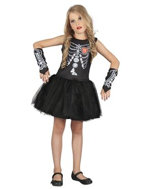 Child Diamond Skeleton Girl Costume