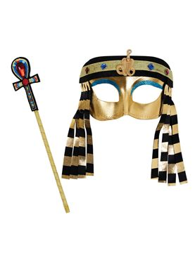 Child Egyptian Girl Mask and Sceptre Set