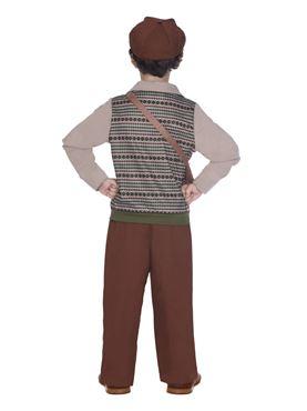 Child Evacuee School Boy Costume - Back View