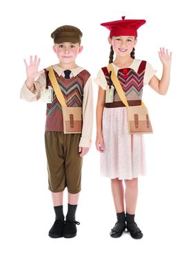 Child Evacuee Schoolboy Costume - Side View