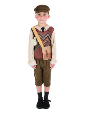 Child Evacuee Schoolboy Costume - Back View
