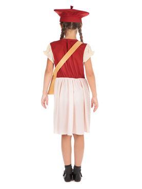 Child Evacuee Schoolgirl Costume - Side View