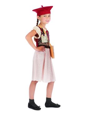 Child Evacuee Schoolgirl Costume - Back View