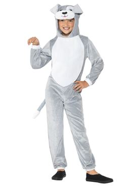 Child Grey Dog Costume - Side View