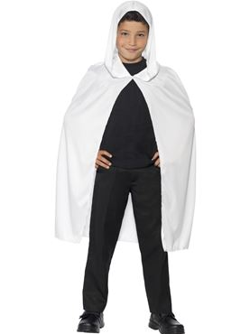 Child Hooded White Cape Couples Costume