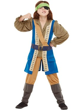 Child Horrible Histories Pirate Captain Costume - Back View