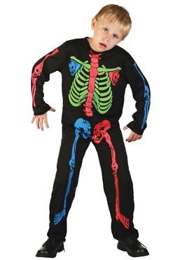 Child Multicoloured Skeleton Boy Costume Couples Costume