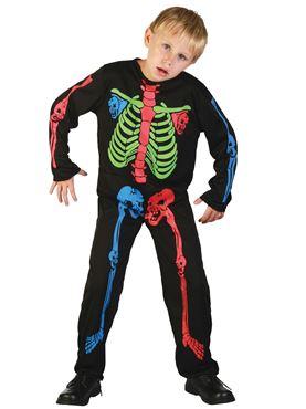 Child Multicoloured Skeleton Boy Costume