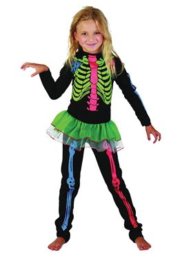 Child Multicoloured Skeleton Girl Costume