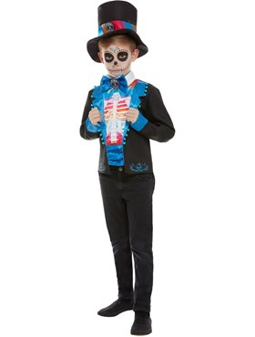 Child Neon Day of The Dead Boy Costume - Back View