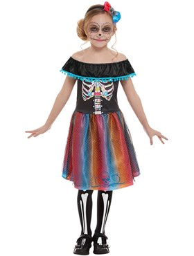 Child Neon Day of The Dead Girl Costume Couples Costume