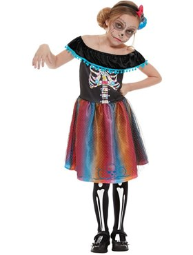 Child Neon Day of The Dead Girl Costume - Back View