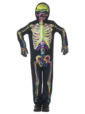 Child Neon Skeleton Costume - Side View