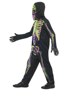 Child Neon Skeleton Costume - Back View