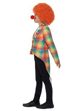 Child Neon Tartan Clown Tailcoat - Back View