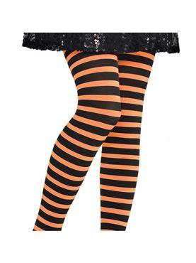 Child Orange And Black Striped Tights