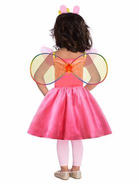 Child Peppa Pig Rainbow Dress Costume - Back View