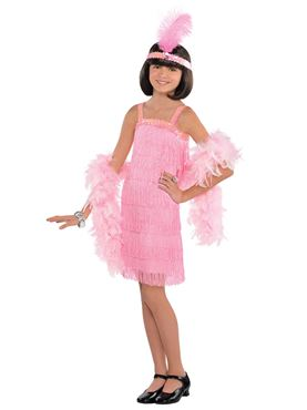 Child Pink Flapper Costume Couples Costume