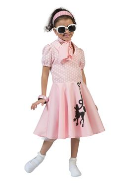 Child Pink Poodle Dress Costume