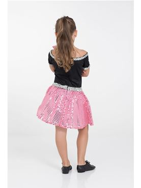 Child Pink Rock n Roll Sequin Dress Costume - Side View