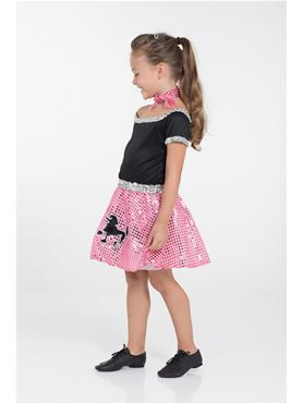 Child Pink Rock n Roll Sequin Dress Costume - Back View