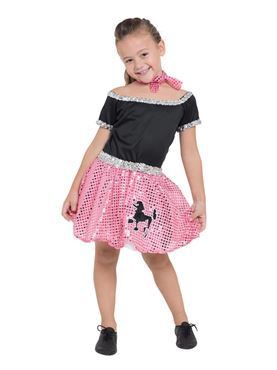 Child Pink Rock n Roll Sequin Dress Costume