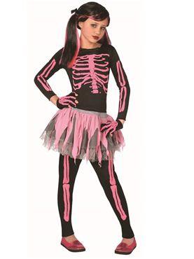 Child Pink Skeleton Childrens Costume