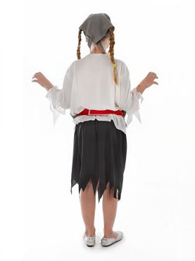 Child Zombie Pirate Girl Costume - Side View