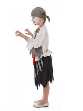 Child Zombie Pirate Girl Costume - Back View