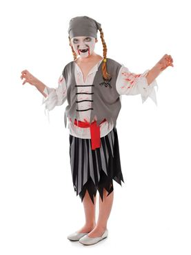 Child Zombie Pirate Girl Costume