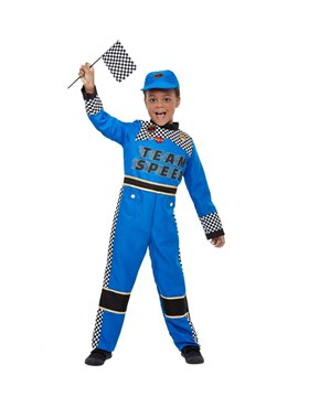 Child Racing Car Driver Costume - Back View