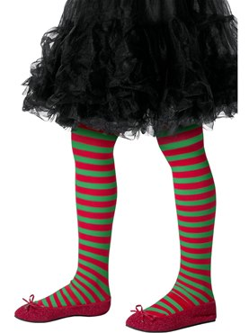 Child Red and Green Striped Tights