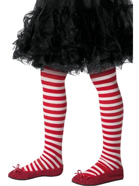 Child Red and White Striped Tights
