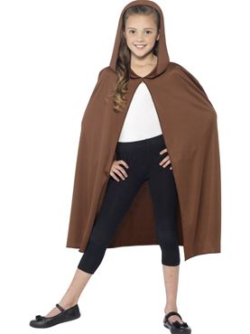 Child Hooded Brown Cape - Back View
