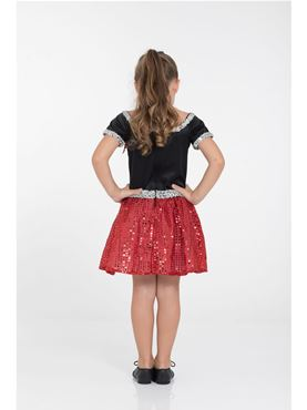 Child Red Rock 'n' Roll Sequin Dress Costume - Side View