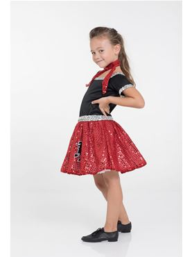 Child Red Rock 'n' Roll Sequin Dress Costume - Back View