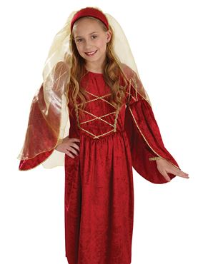Child Red Tudor Princess Costume - Back View