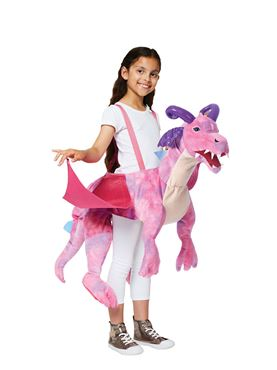 Child Ride On Pink Dragon Costume - Back View