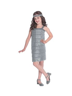 Child Silver Flapper Costume