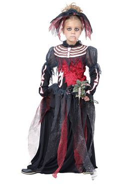 Child Skeleton Bride Costume - Back View