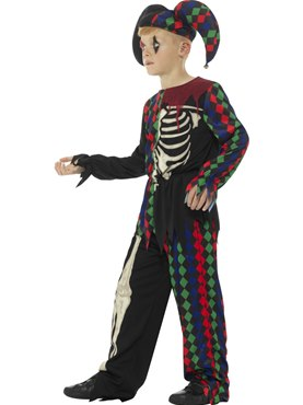 Child Skeleton Jester Costume - Back View