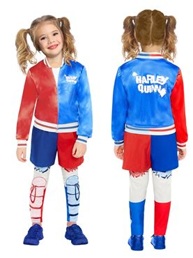 Child Superhero Harley Quinn Costume - Back View