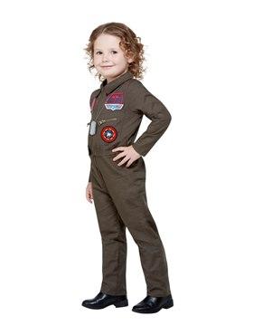 Child Top Gun Costume - Back View