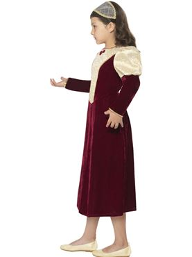 Child Tudor Damsel Princess Costume - Back View