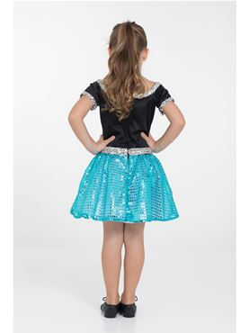 Child Turquoise Rock n Roll Sequin Dress Costume - Side View