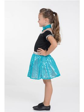Child Turquoise Rock n Roll Sequin Dress Costume - Back View