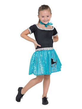Child Turquoise Rock n Roll Sequin Dress Costume