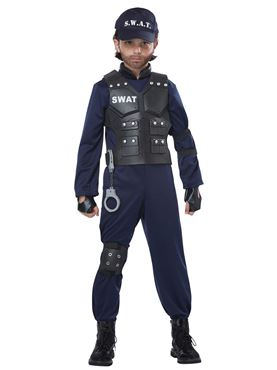 Child Unisex Junior Swat Costume - Side View