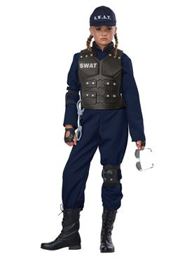 Child Unisex Junior Swat Costume - Back View