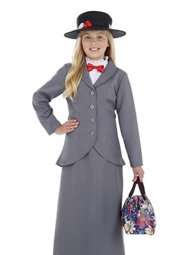 Child Victorian Nanny Costume - Back View